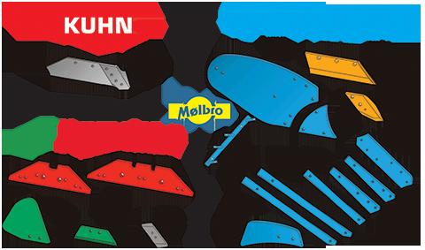 Рабочие органы производства Mølbro к плугам Lemken, Kvernekand и Kuhn-Huadr